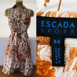 ESCADA Sport VINTAGE Floral SILK Shirtwaist DRESS